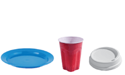 plastic plates, cups and coffee lids