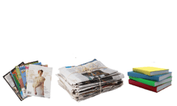 newspaper, flyers, paper, magazines, books, envelopes