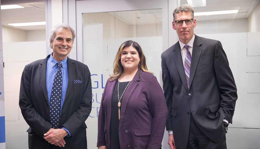 Photo (Left to right): Halton Regional Chair, Gary Carr, Stephanie Mazhari, Manager, Entrepreneurship Services and John Davidson, Director, Economic Development at the Halton Global Business Centre launch event on February 28.