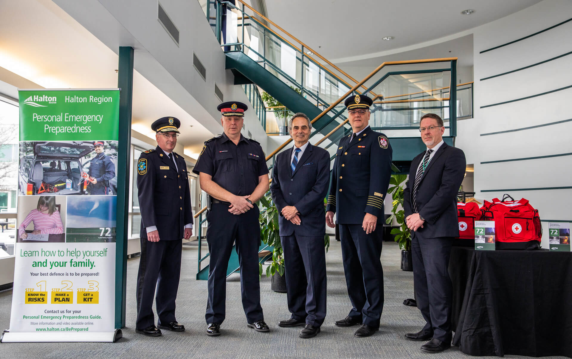 Halton's Paramedic Services Chief, Police Services Chief, Regional Chair, Fire Coordinator, Chief of Emergency Management, and Oakville's Fire Chief and