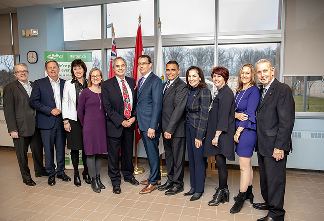 Chair Carr with The Honourable Karina Gould, Minister of Democratic Institutions, The Honourable Monte McNaughton, Minister of Infrastructure, and Halton elected officials at the Clean Water and Wastewater Fund Announcement in Halton on January 8, 2019.
