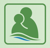 Halton Parents logo showing a graphic representation of a parent and child of a non-specific gender in the colours of the Halton logo (green and blue).