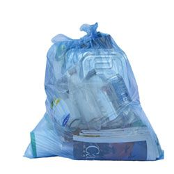 Blue clear recycling bag with recycling inside