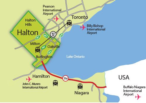 map of halton within southern ontario