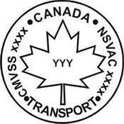 The National Safety Mark for use in Canada has a Black and White outline of a Maple Leaf with YYY in the centre. Along the edge of the outlined circle surrounding it are the follow words from top and along the right;