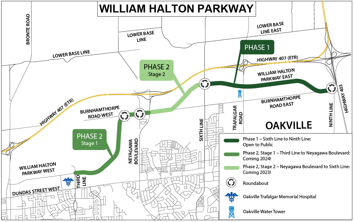Map of Willam Halton Parkway showing the phases of the project