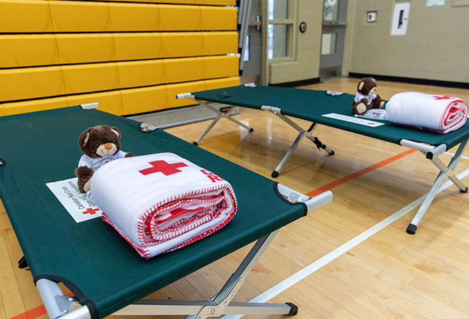 Photo of Canadian Red Cross cots with teddy bears and blankets.